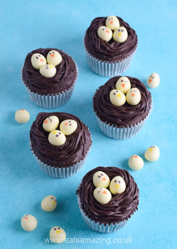 How to make cute and easy chocolate nest cupcakes with mini egg chicks - fun Easter recipe for kids