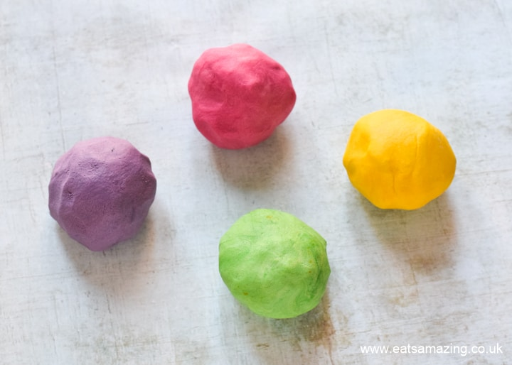How to make cute nd easy Easter Egg Cookies - step 1 colour the dough
