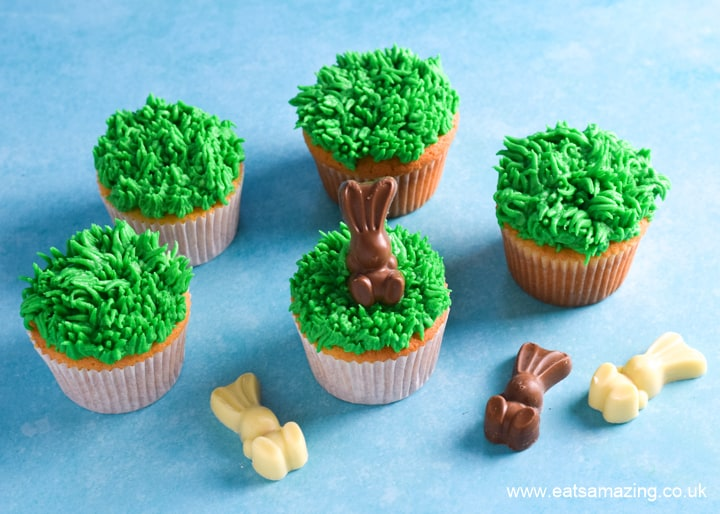 How to make easy Easter cupcakes - step 2 add chocolate bunnies