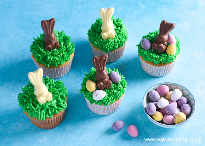 How to make easy Easter cupcakes - step 3 add mini eggs to finish