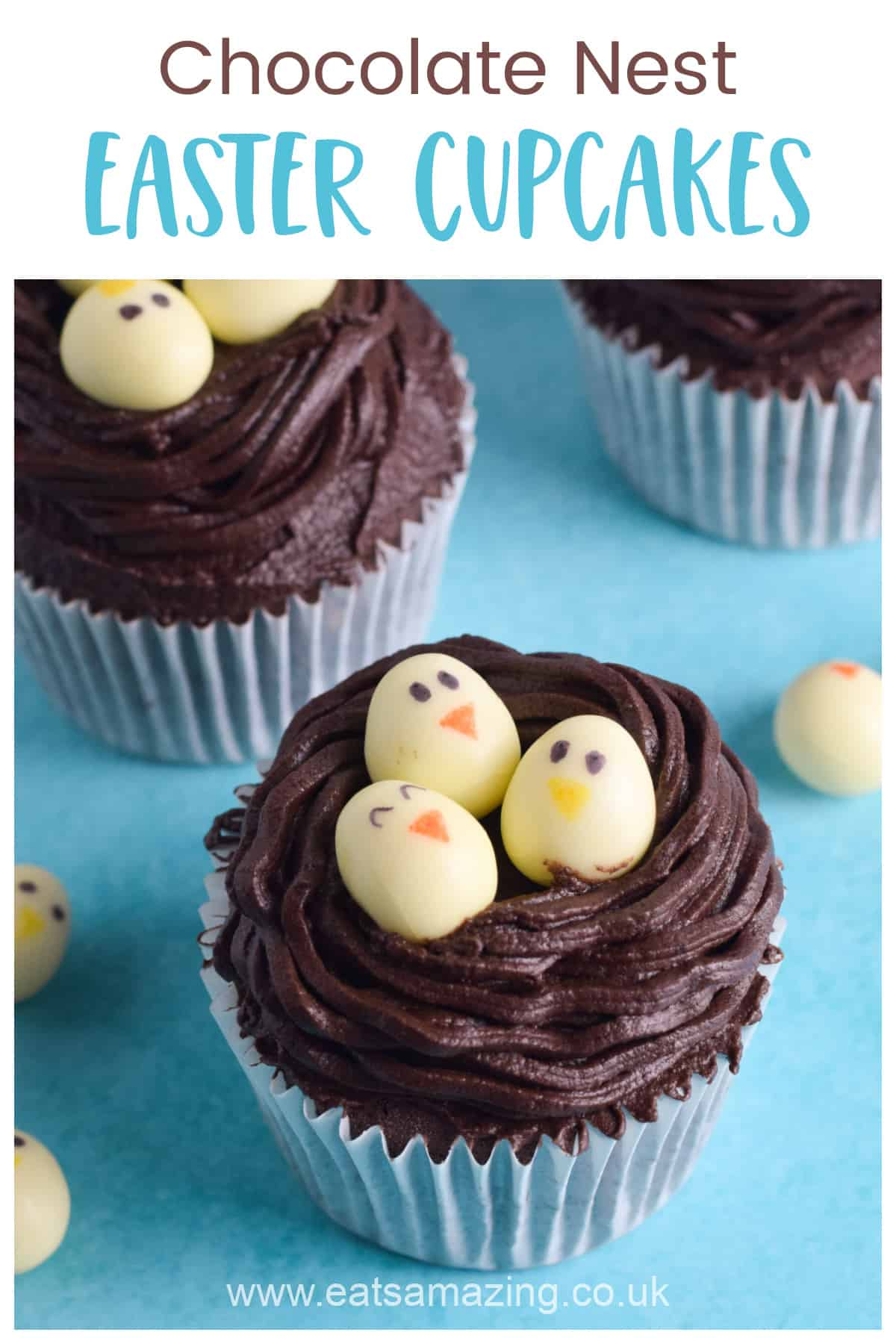 How to make fun and easy chocolate Easter Nest Cupcakes - cute Easter baking project for kids