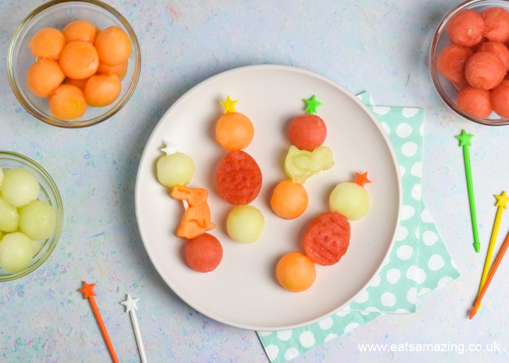 How to make quick and easy Easter Fruit Skewers - fun healthy Easter dessert for kids