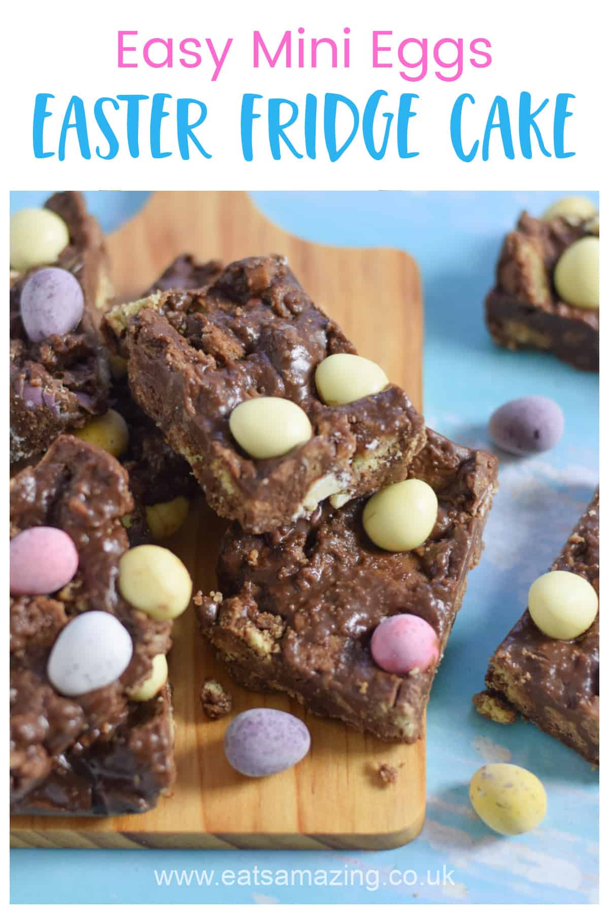 Quick and easy Mini Eggs Chocolate Fridge Cake - this no-bake dessert is perfect for Easter baking with kids