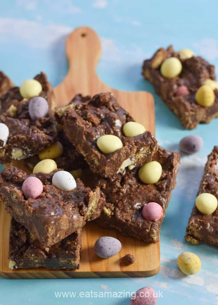 Quick and easy mini egg chocolate fridge cake recipe - a great Easter dessert kids can make
