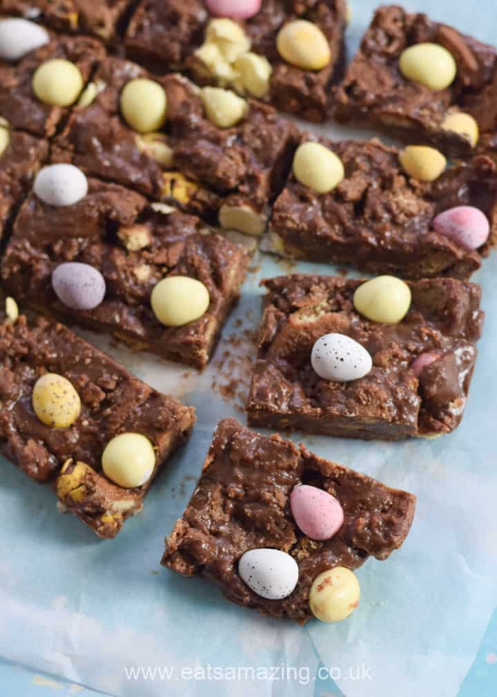 Quick and easy mini egg chocolate fridge cake recipe - this easy no bake treat is perfect for Easter
