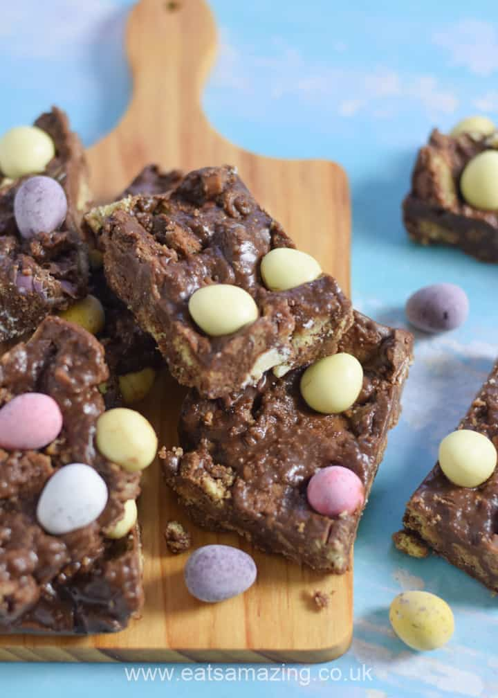 Quick and easy no-bake chocolate fridge cake recipe with mini eggs - perfect for Easter baking with kids