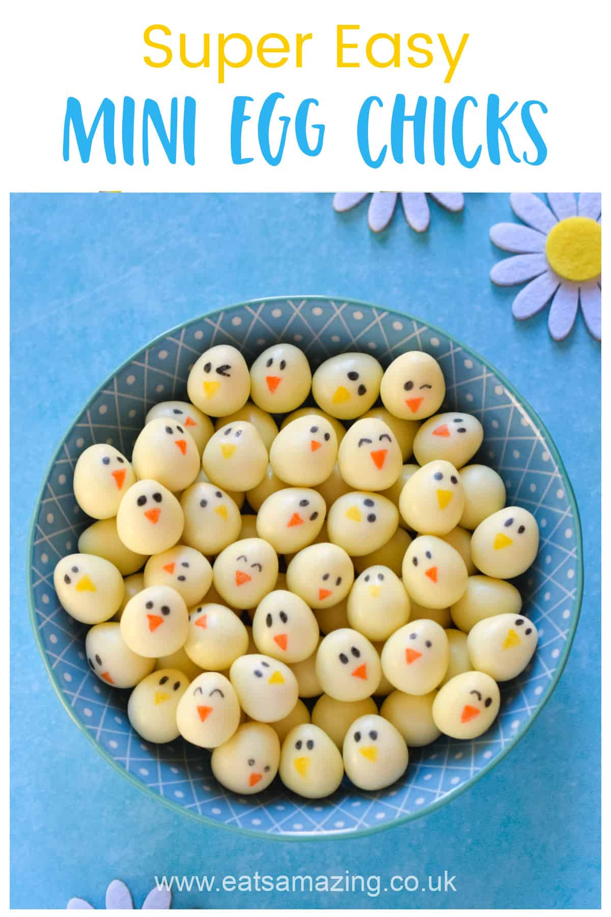 Super cute and easy Mini Egg Chicks - perfect for Easter gifts treats and Easter baking