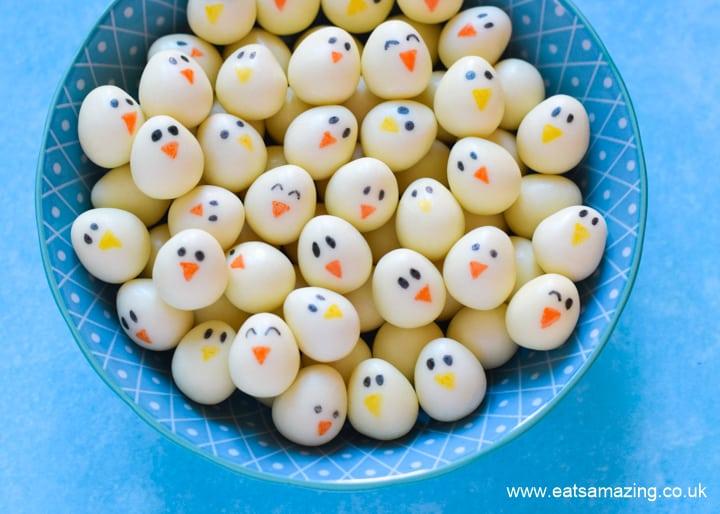Super cute mini egg chicks - fun Easter food idea for kids