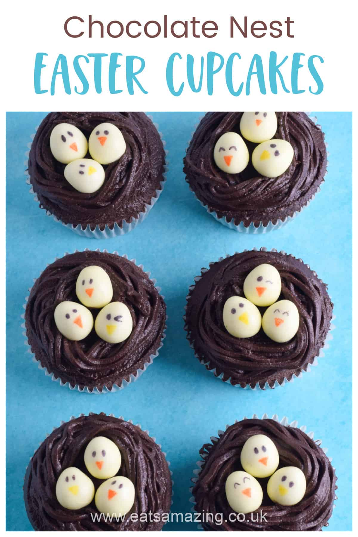 Super easy Easter Nest Chocolate Cupcakes recipe - fun Easter recipe for kids