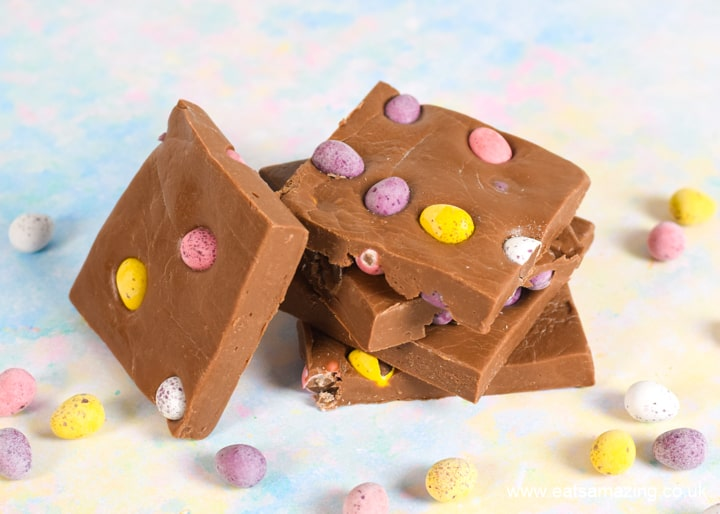 Super easy milk chocolate microwave fudge with mini eggs - great Easter recipe for kids