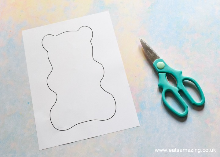 How to make a HARIBO Gummy Bear Cake - step 2 cut out gummy bear outline template