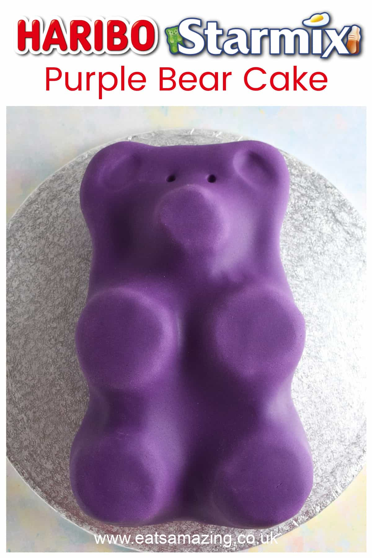 This easy HARIBO Starmix Gummy Bear cake recipe makes a great kids birthday cake idea - with video tutorial and printable recipe