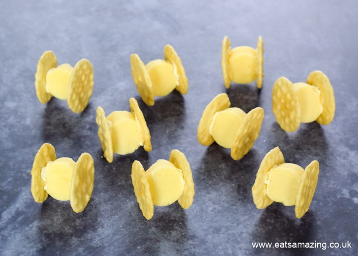 Easy Star Wars themed food - TIE Fighter cheese and crackers recipe for kids party food