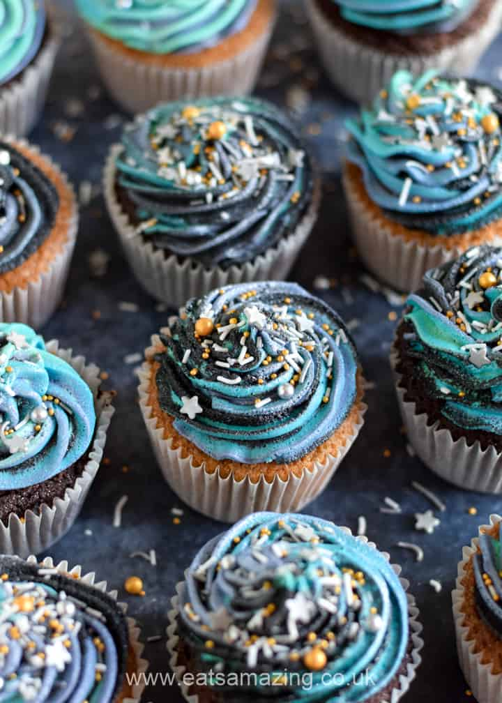 How to make easy Galaxy Cupcakes for Star Wars party food