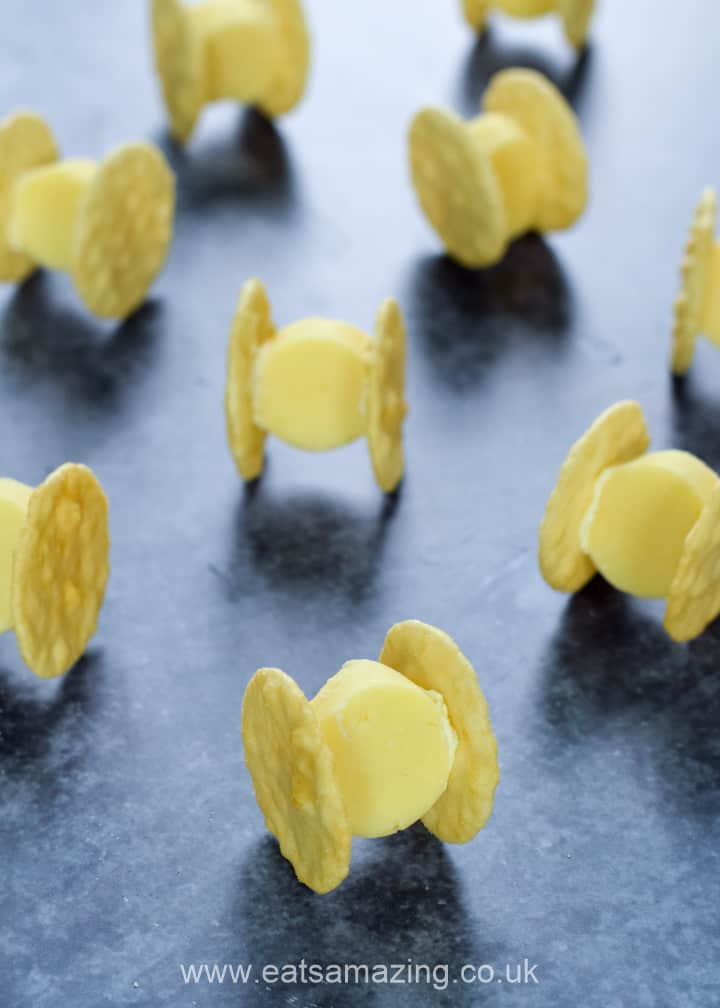 How to make quick and easy cheese and cracker TIE fighters - fun Star Wars themed food for kids