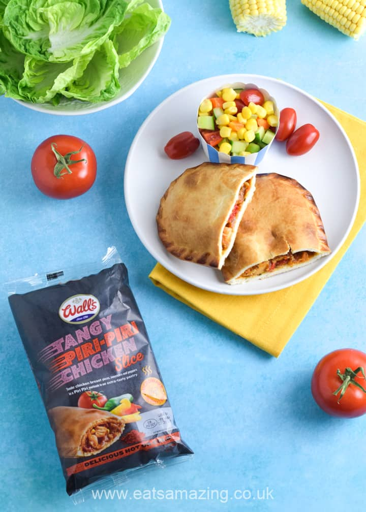 NEW Piri-Piri Chicken Slice from Walls Pastry - served with easy sweetcorn salad