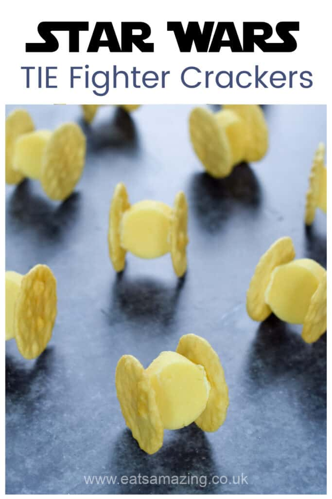 Quick and easy Star Wars Party food idea - cheese and cracker TIE fighters recipe for kids