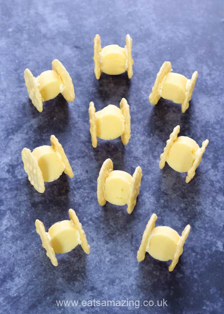 Quick and easy Star Wars party food - cheese and cracker TIE Fighters recipe