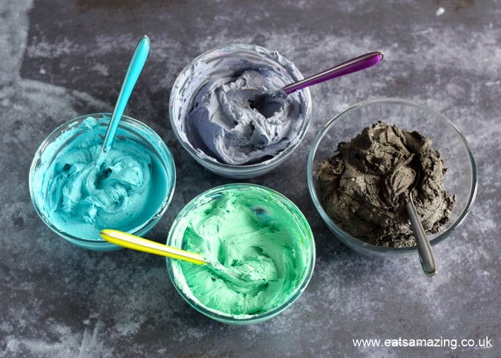 Star Wars Galaxy Cupcakes Recipe - Step 2 divide the icing and colour it