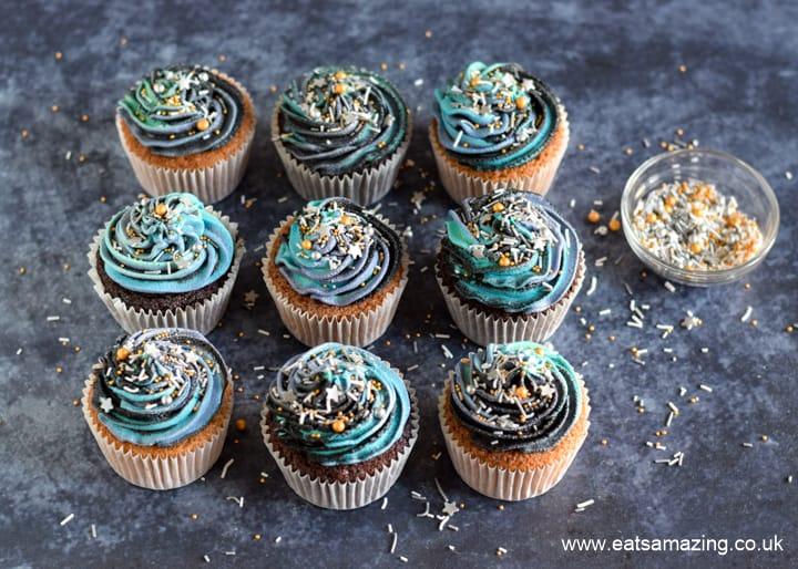 Star Wars Galaxy Cupcakes Recipe - Step 7 sprinkle with a metallic sprinkle mix