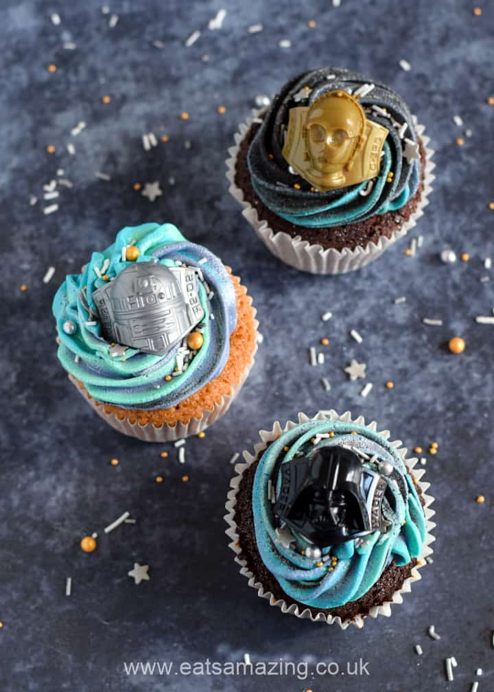 Star Wars Galaxy Cupcakes Recipe - Step 8 top with Star Wars cupcake decorations