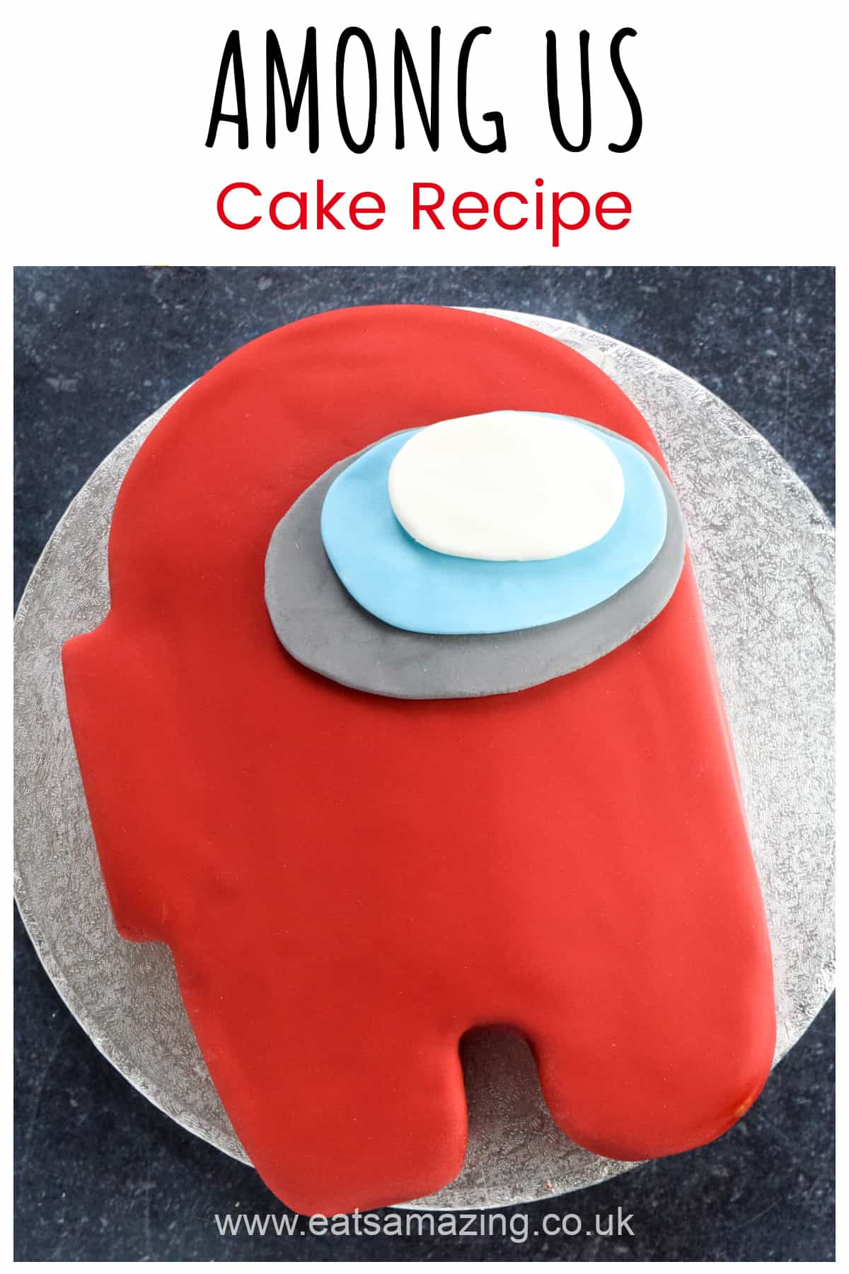 How to make an easy Among Us Crewmate themed cake - recipe with step by step photos