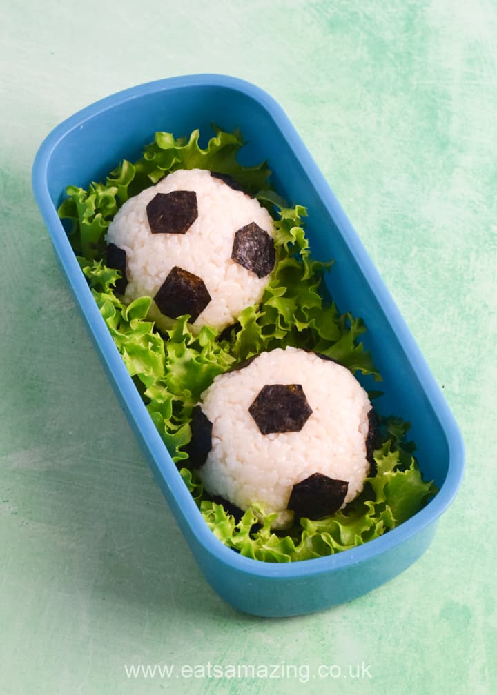 How to make football soccer rice balls for bento boxes and lunch boxes - easy recipe for kids