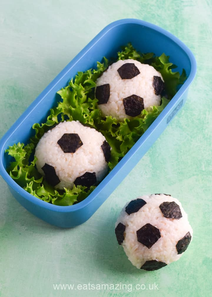 How to make soccer football rice balls for bento boxes and lunch boxes - easy recipe for kids