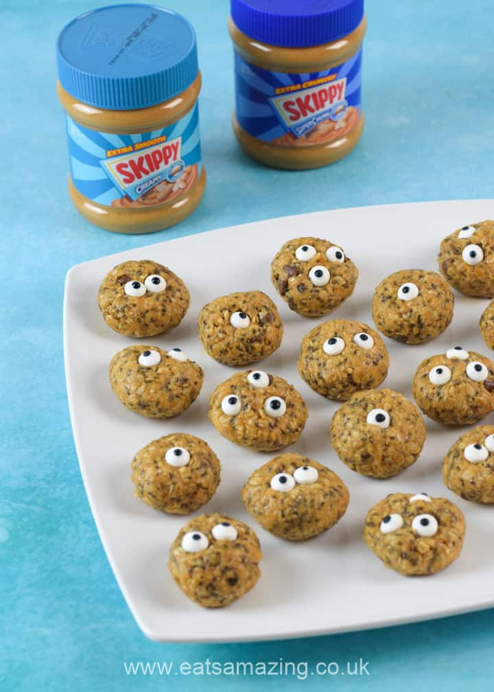 Fun and easy Monster Peanut Butter Energy Bites recipe - perfect for baking with kids this summer