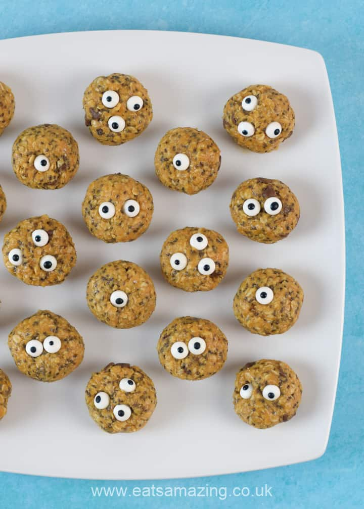 How to make fun and easy Monster Peanut Butter Energy Bites - easy recipe for kids