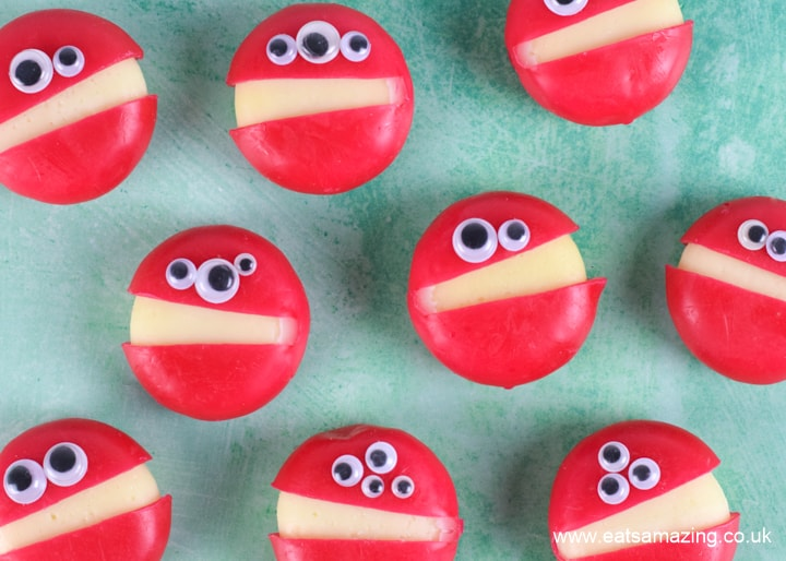 Fun and easy Babybel Cheese monsters - perfect for Halloween party food or kids lunch boxes