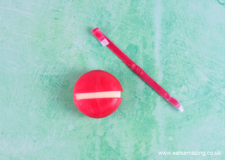 How to make babybel cheese monsters - step 1 remove wrapper and pull of central tab