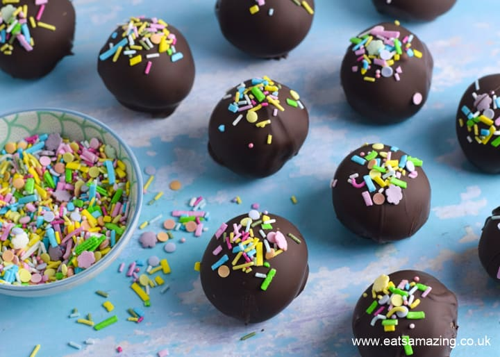How to make chocolate covered cake balls - cake scraps recipe with step by step photos