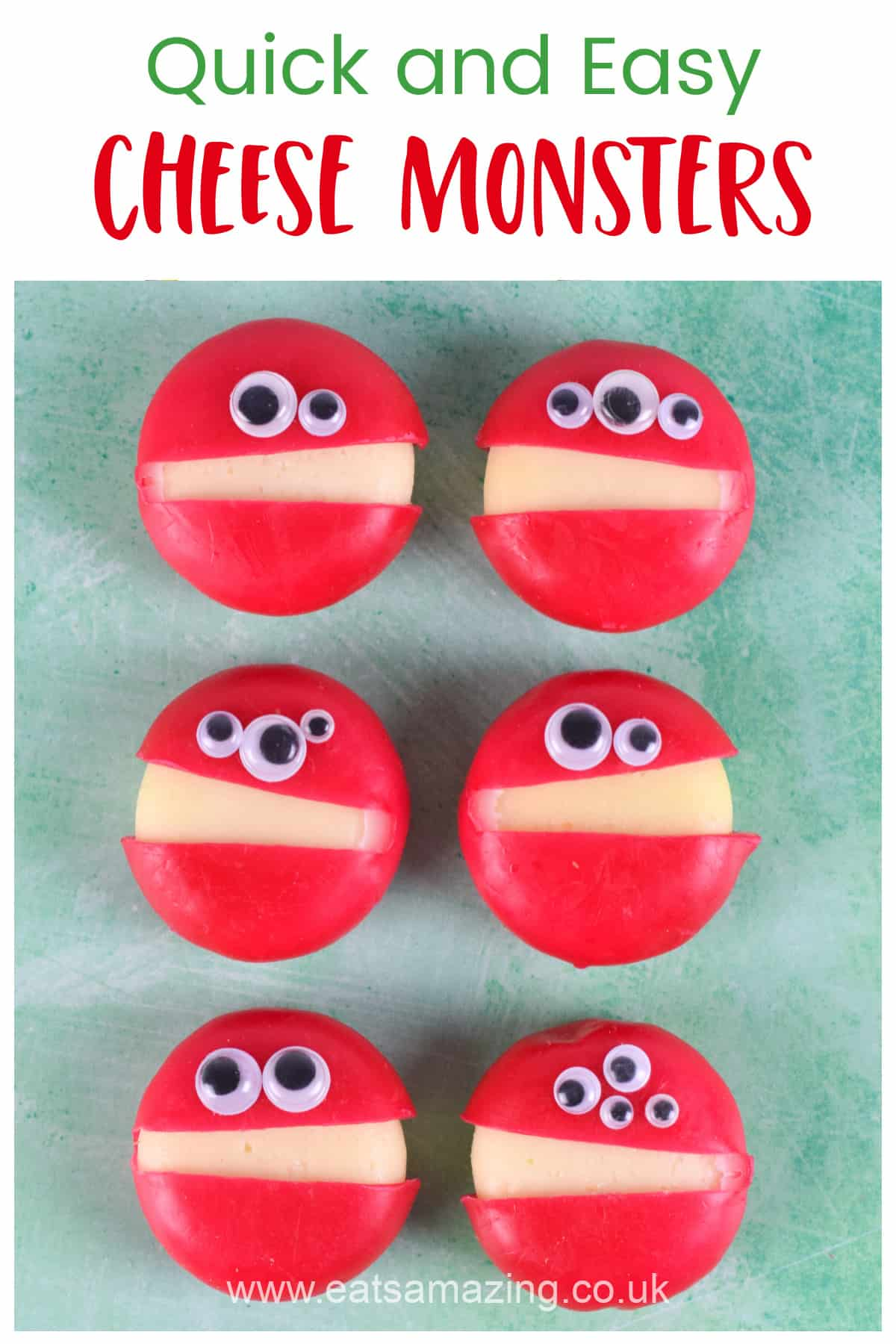 How to make quick and easy Babybel cheese Monsters for healthy kids party food and fun Halloween snacks