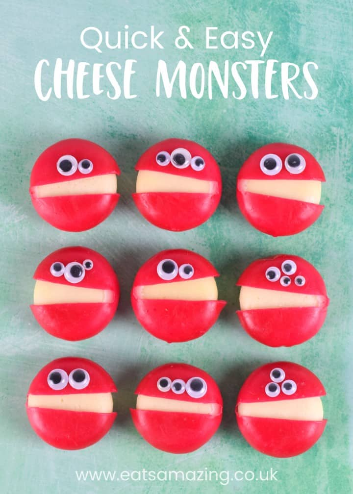 This fun and easy Babybel cheese monsters recipe is perfect for Halloween party food for kids