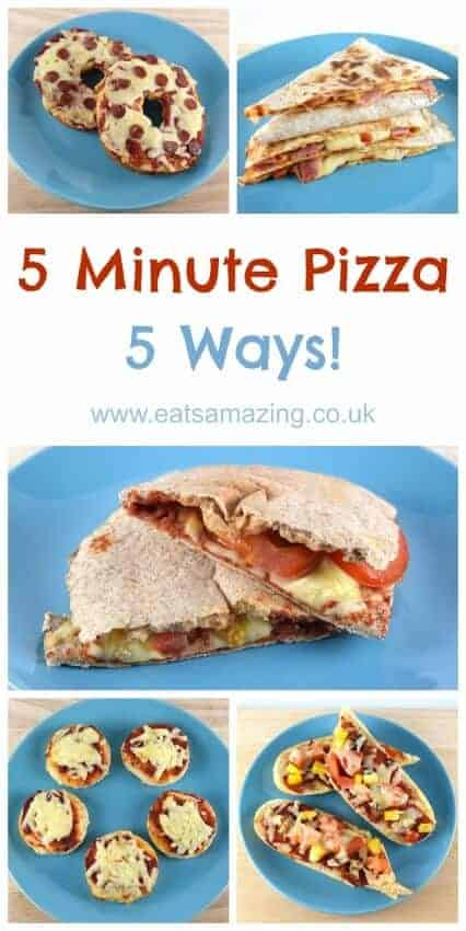 5 Easy pizza recipes you can prepare in just 5 minutes - great kids food idea - with video tutorial from Eats Amazing UK