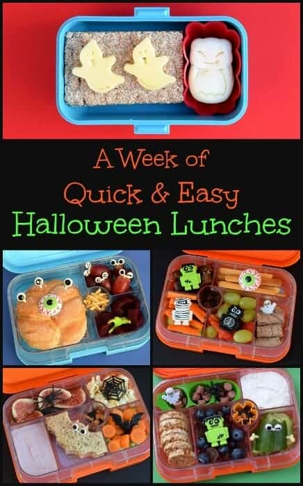 5 quick and easy Halloween lunch ideas for kids from Eats Amazing UK - fun and healthy bento lunch ideas