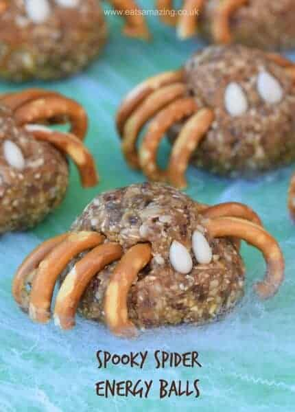 A fun energy balls recipe for Halloween - spooky spider themed food for kids from Eats Amazing UK - great Halloween party food idea - nut free and dairy free