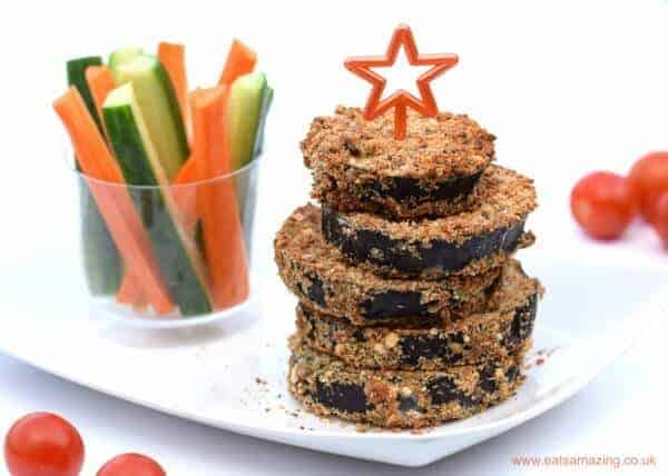 Breaded aubergine slices recipe from Eats Amazing UK - a delicious way to serve up veggies for kids