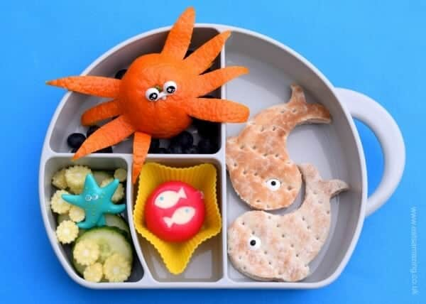 Cute ocean themed school lunch packed in the Boon Trunk Snack Box - Eats Amazing UK
