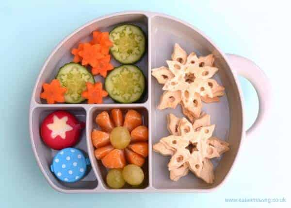 Cute winter snowflake bento lunch idea for kids in the Boon Trunk Snack Box - Eats Amazing UK