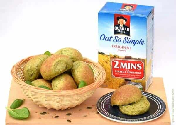 Delicious and healthy oat and spinach bread rolls recipe with Quaker Oats from Eats Amazing UK