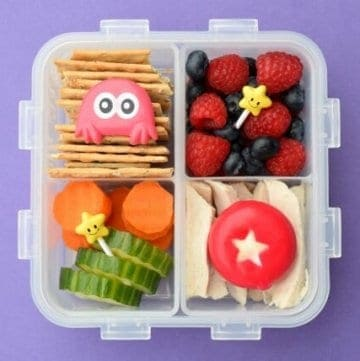 Easy Bento Lunch for Kids in the Lock and Lock Square divided lunch box - with lots more kids lunch box ideas and recommendations at Eats Amazing UK