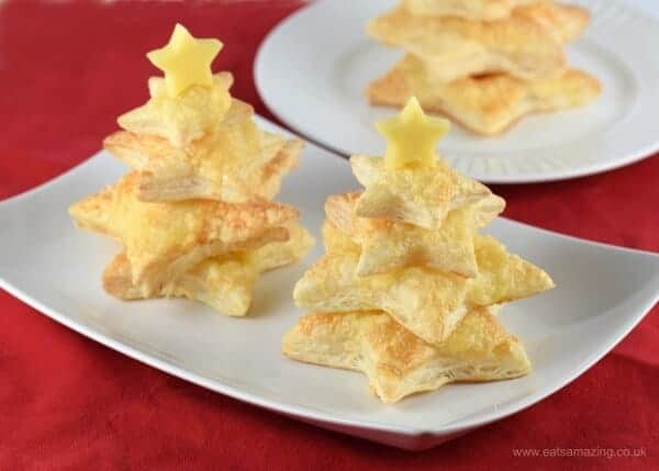 Easy Cheese Puff Pastry Christmas trees recipe from Eats Amazing - great for a nutcracker party
