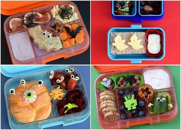 Easy Halloween lunch box inspiration and ideas for kids school lunches from Eats Amazing UK - packed in the Yumbox and Monbento Tresor bento boxes