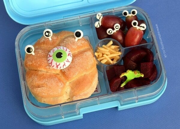 Easy Monster lunch idea with cute bento accessories in the Yumbox Panino bento box from Eats Amazing UK