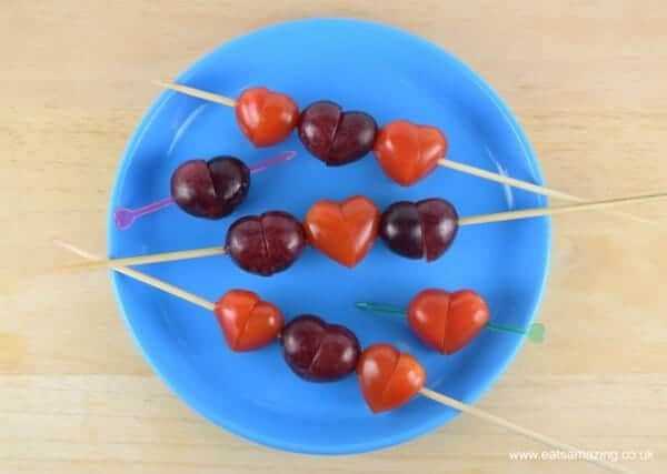 Easy Tomato & Grape Hearts - cute and healthy idea for Valentines Day Food for Kids from Eats Amazing UK