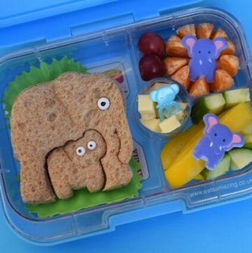 Easy elephant packed lunch with cute elephant sandwich made with the lunch punch critter cutters set - fun kids food ideas from Eats Amazing UK