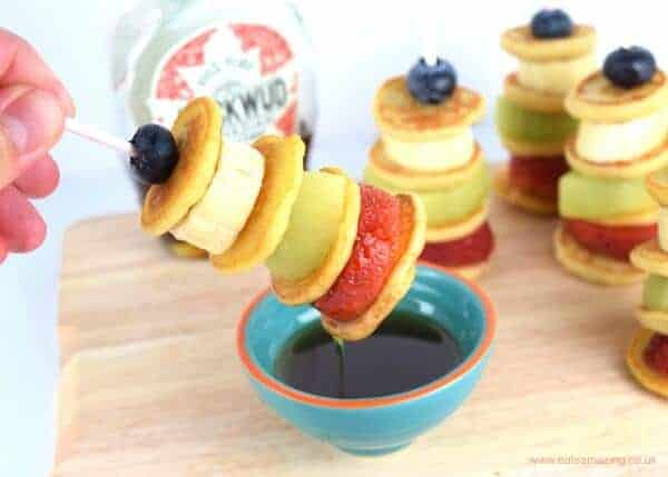 Easy fruity mini pancake stackers - a fun and healthy breakfast snack or dessert idea for kids