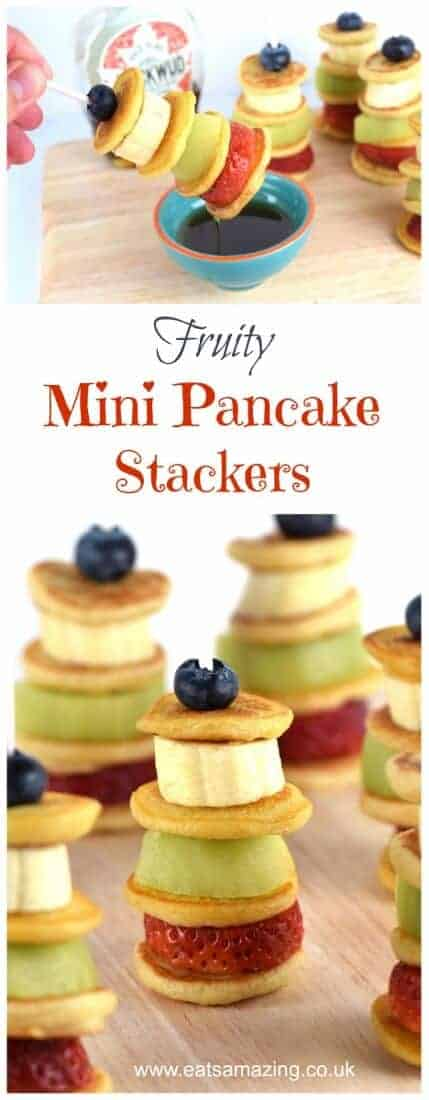 Easy fruity mini pancake stackers - a fun and healthy breakfast snack or dessert idea that kids will love from Eats Amazing UK